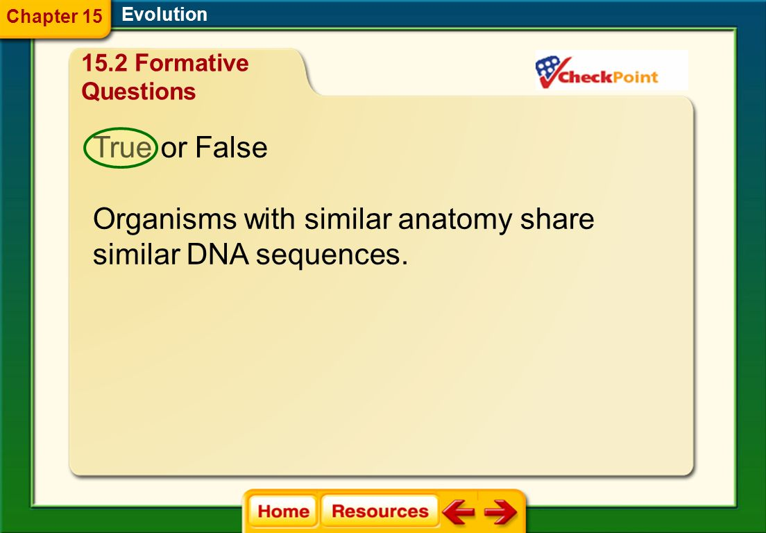Organisms with similar anatomy share similar DNA sequences.