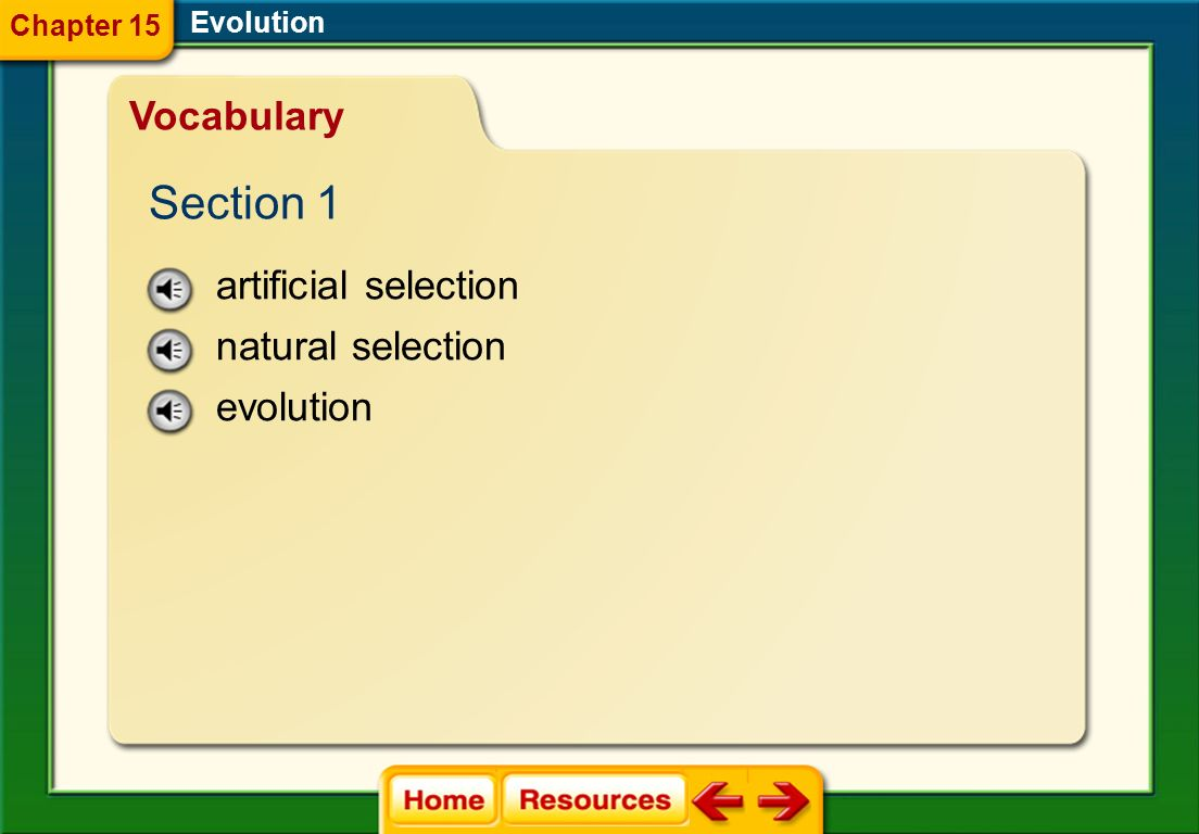 Section 1 Vocabulary artificial selection natural selection evolution