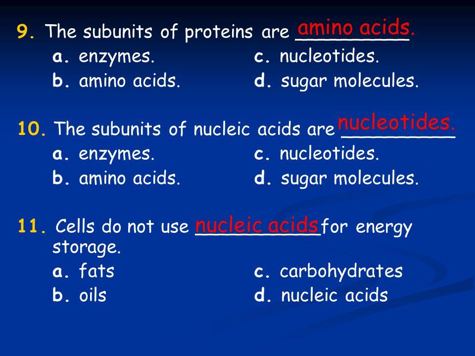 amino acids. nucleotides. nucleic acids