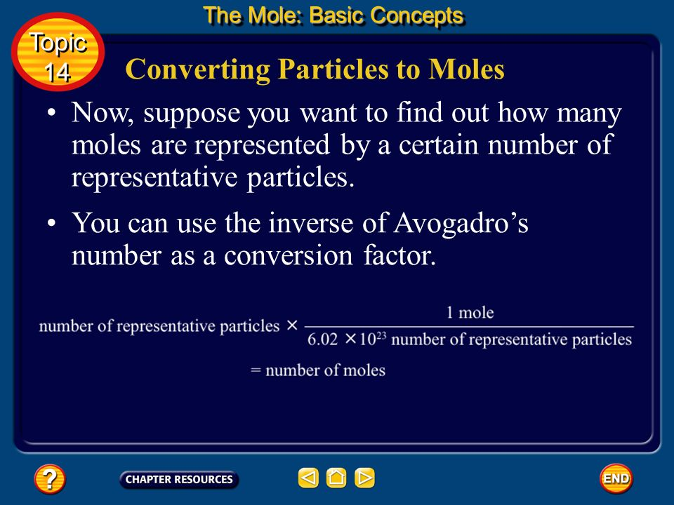 Converting Particles to Moles