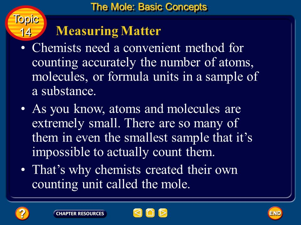 That's why chemists created their own counting unit called the mole.