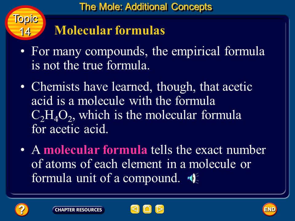 For many compounds, the empirical formula is not the true formula.