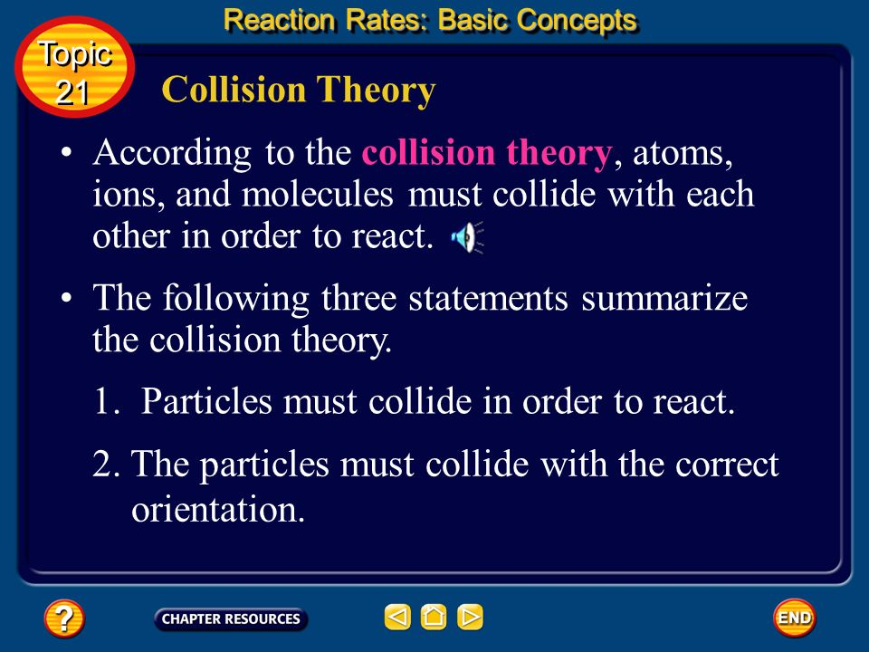 The following three statements summarize the collision theory.