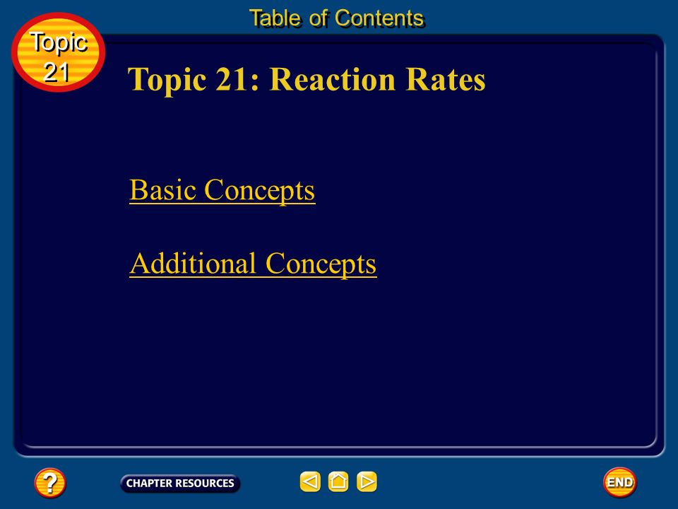 Topic 21: Reaction Rates Basic Concepts Additional Concepts Topic 21