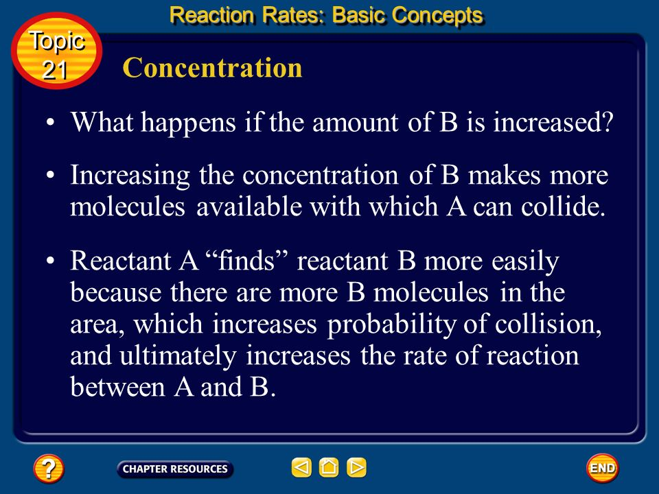 What happens if the amount of B is increased