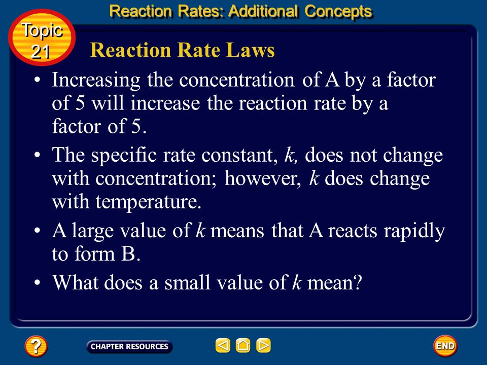 A large value of k means that A reacts rapidly to form B.