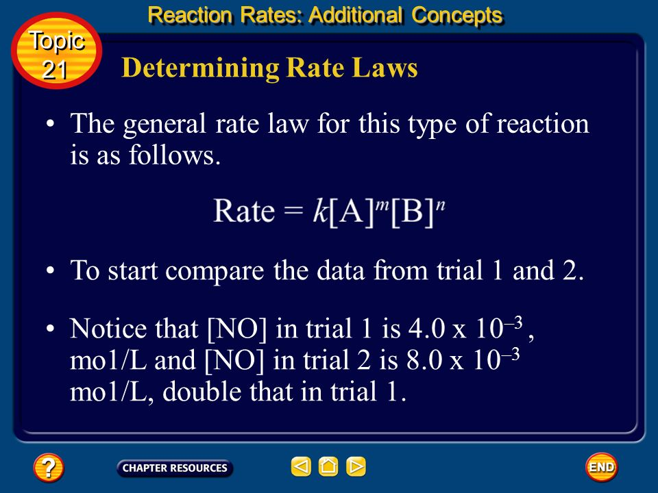 The general rate law for this type of reaction is as follows.