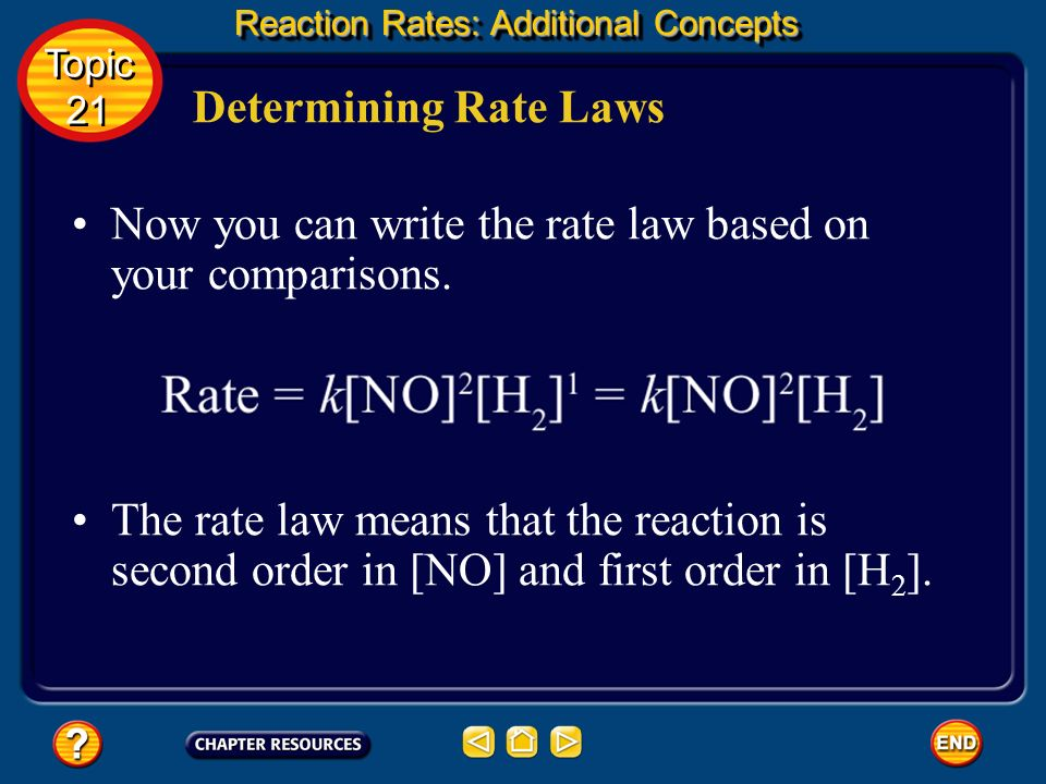 Now you can write the rate law based on your comparisons.
