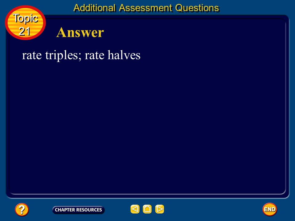 Answer rate triples; rate halves Topic 21