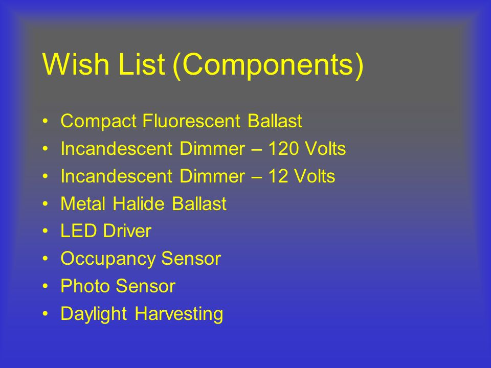 Wish List (Components)
