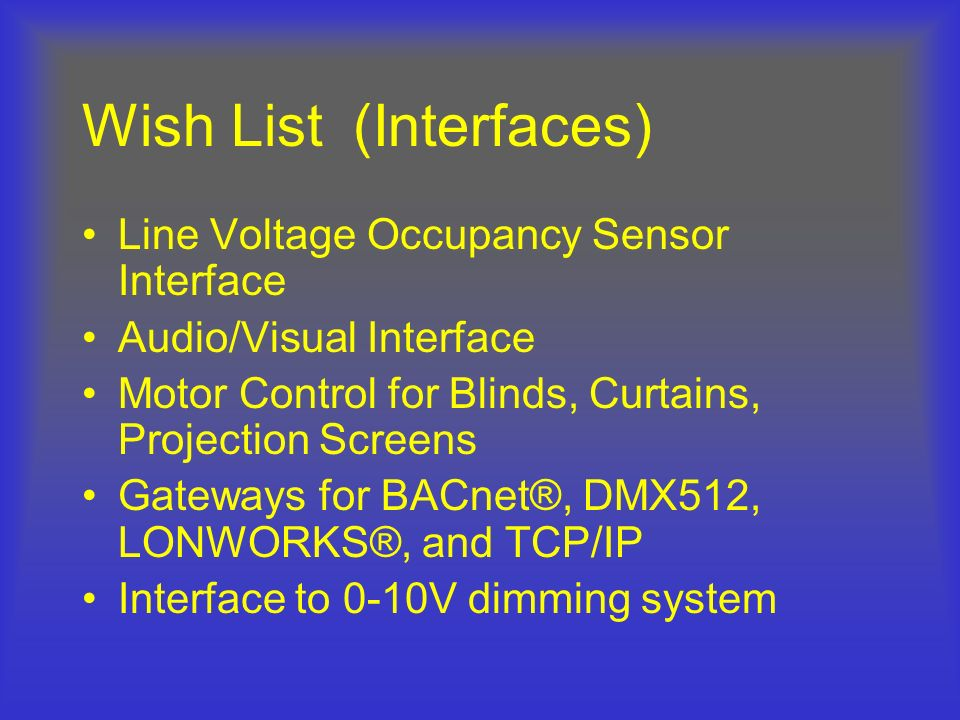 Wish List (Interfaces)
