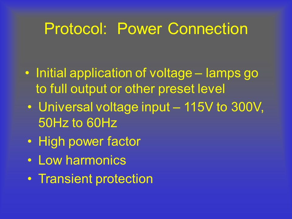 Protocol: Power Connection