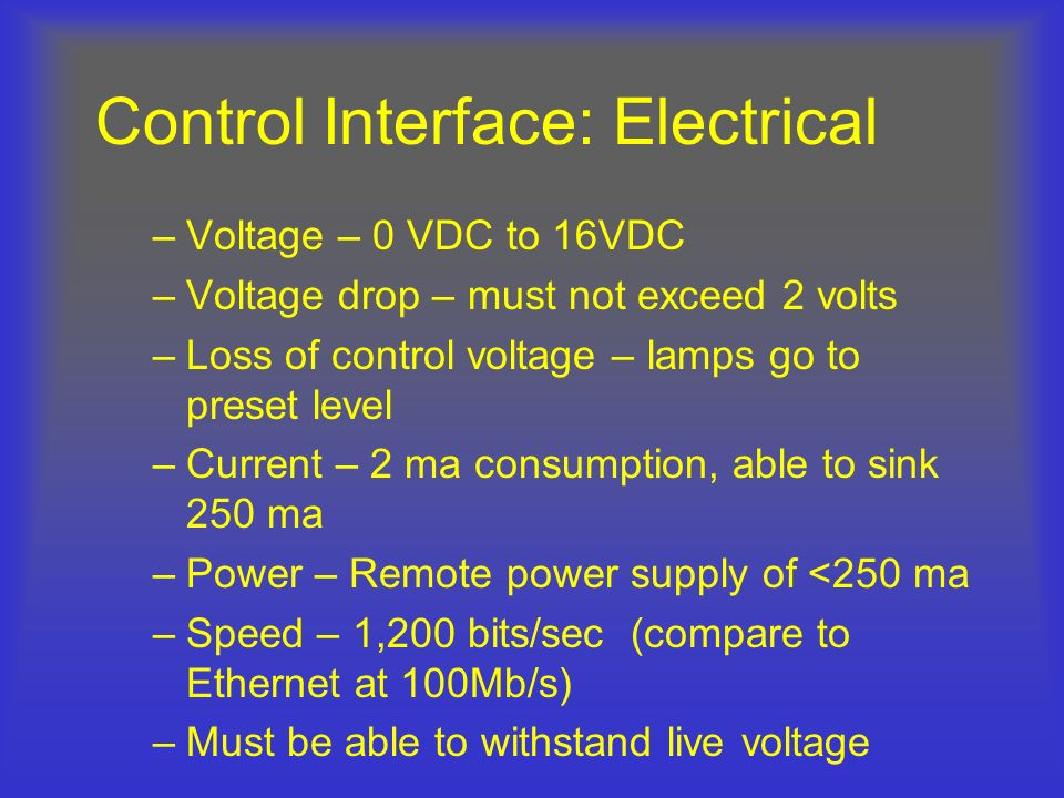 Control Interface: Electrical