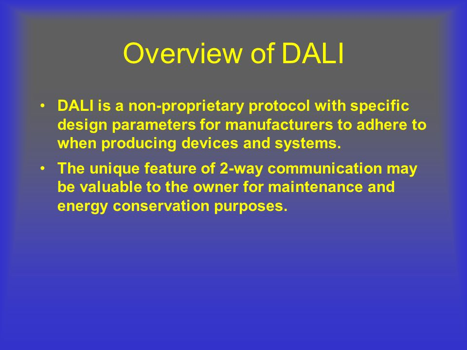 Overview of DALI