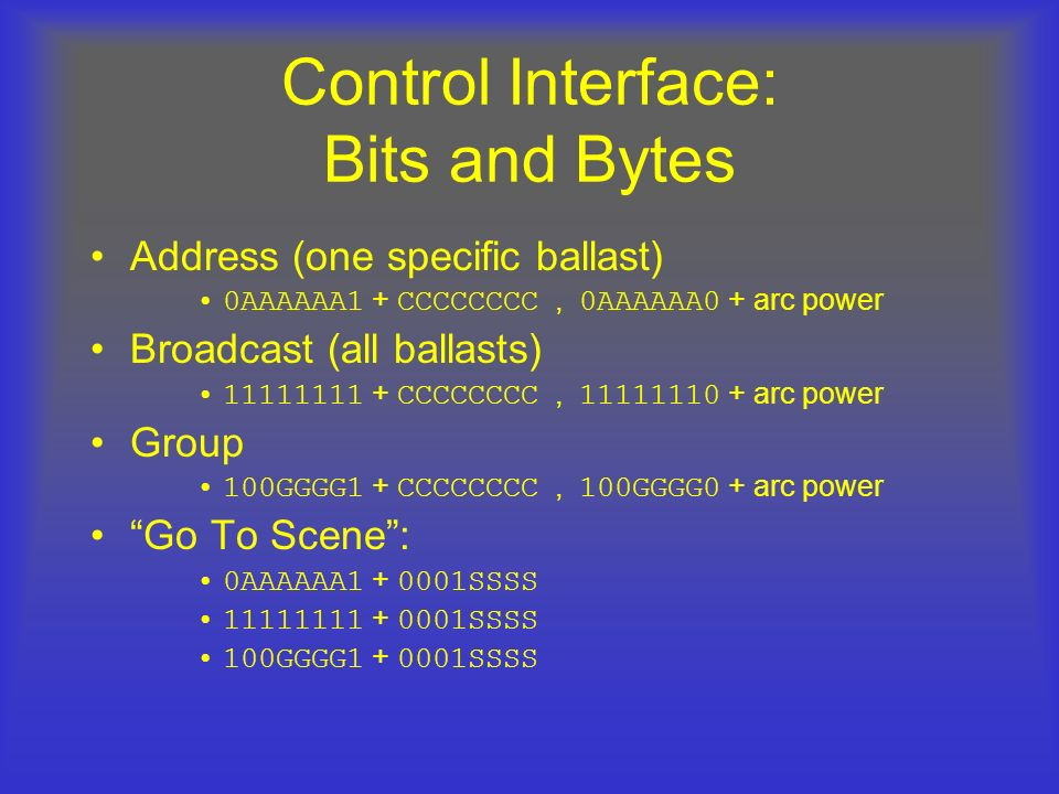 Control Interface: Bits and Bytes