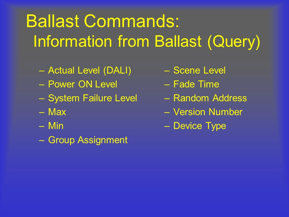 Ballast Commands: Information from Ballast (Query)