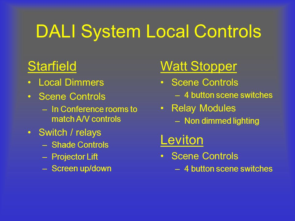 DALI System Local Controls
