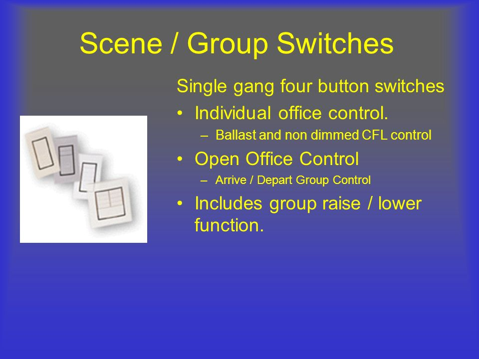 Scene / Group Switches Single gang four button switches