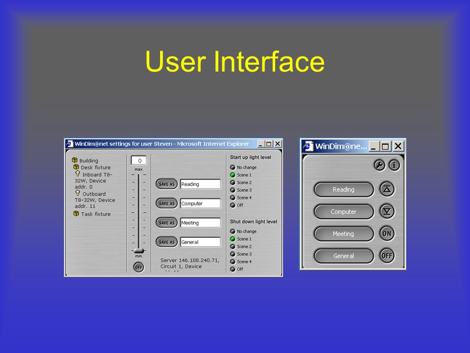 User Interface This diagram was borrowed from a Tridonic presentation.