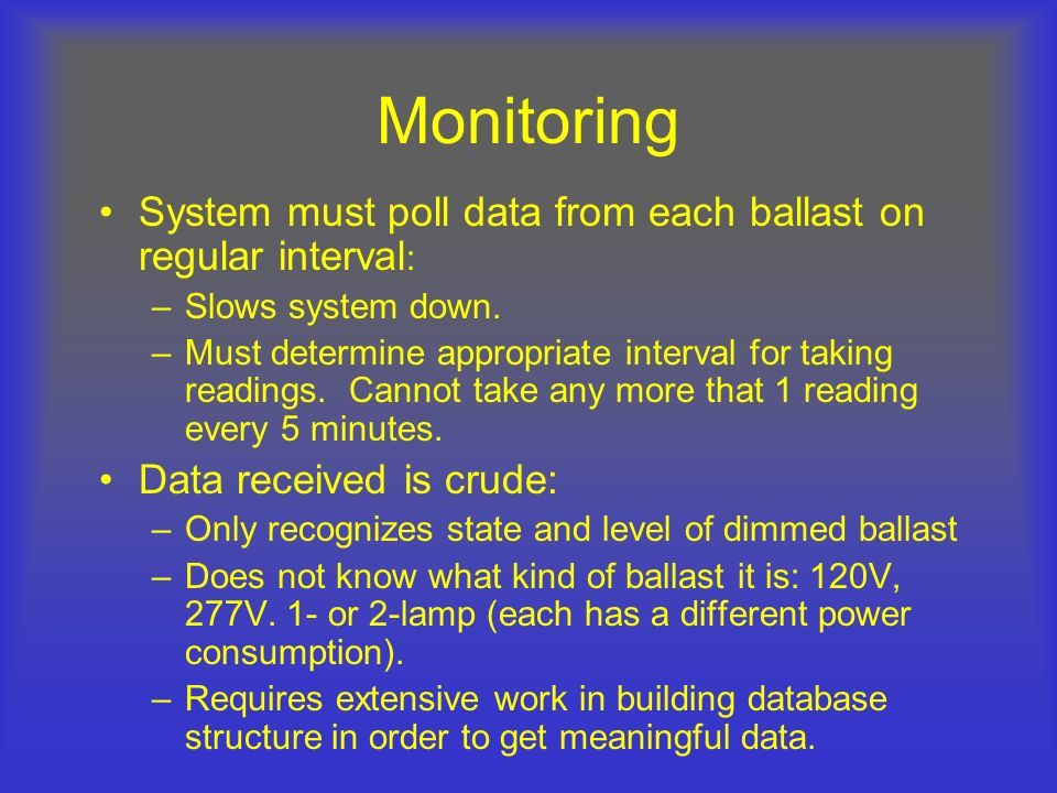 Monitoring System must poll data from each ballast on regular interval: Slows system down.