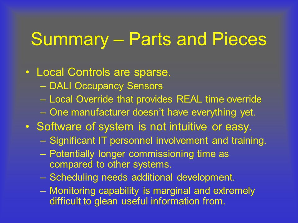 Summary – Parts and Pieces