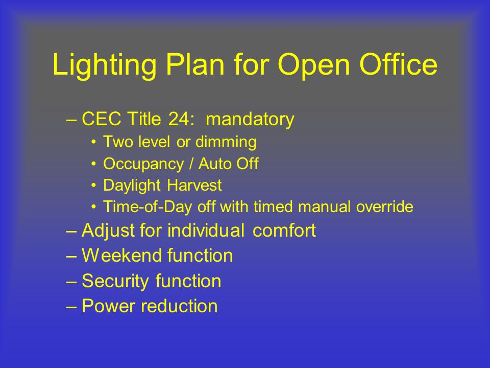 Lighting Plan for Open Office