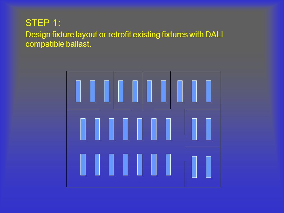 STEP 1: Design fixture layout or retrofit existing fixtures with DALI compatible ballast.