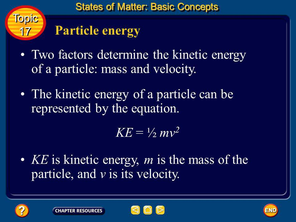 The kinetic energy of a particle can be represented by the equation.