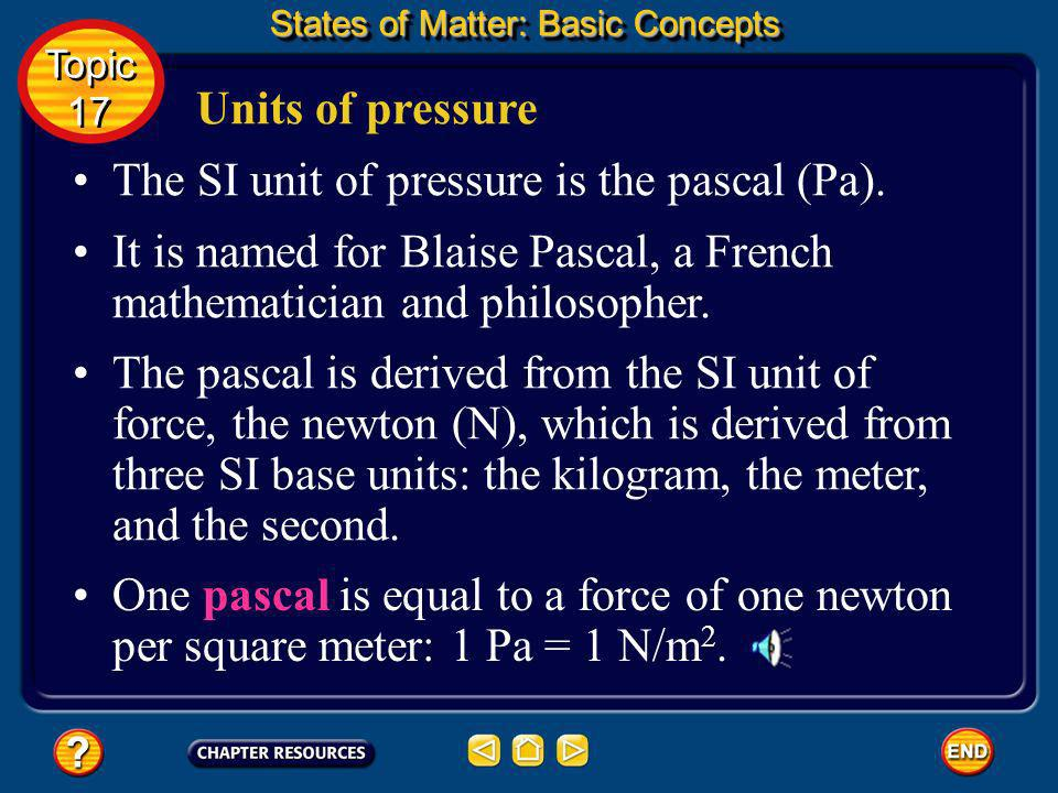 The SI unit of pressure is the pascal (Pa).