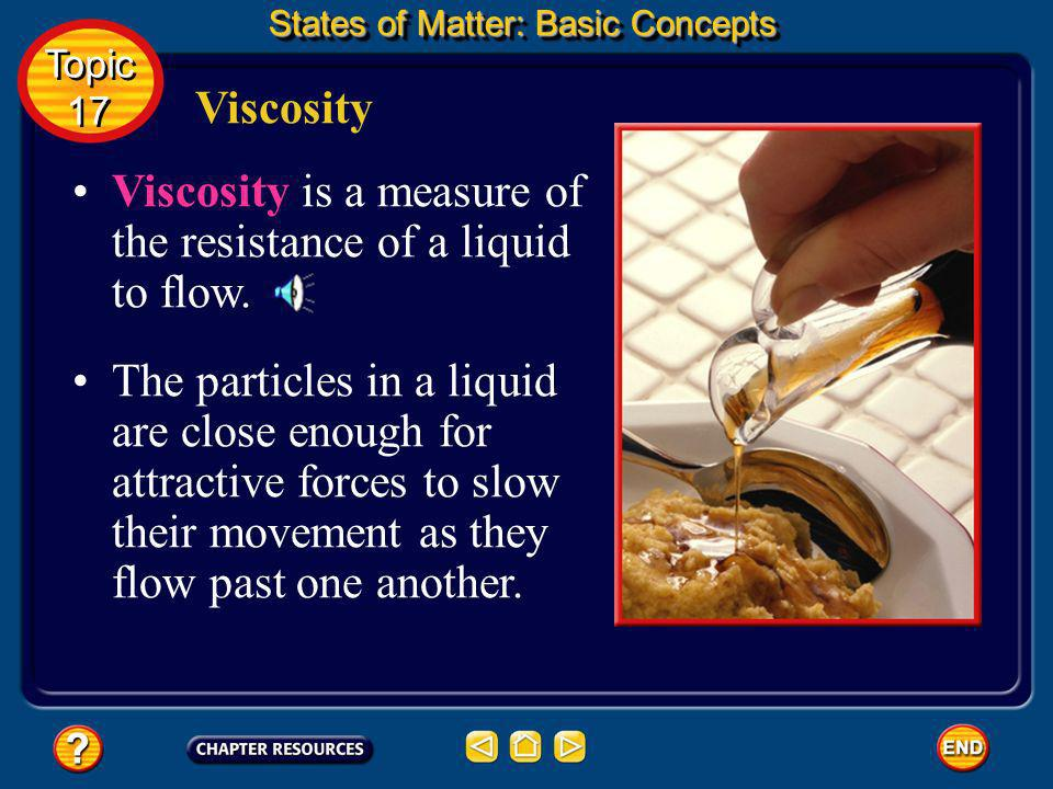 Viscosity is a measure of the resistance of a liquid to flow.