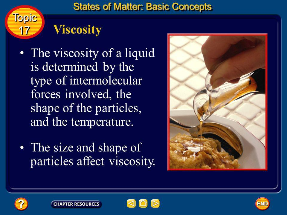 The size and shape of particles affect viscosity.