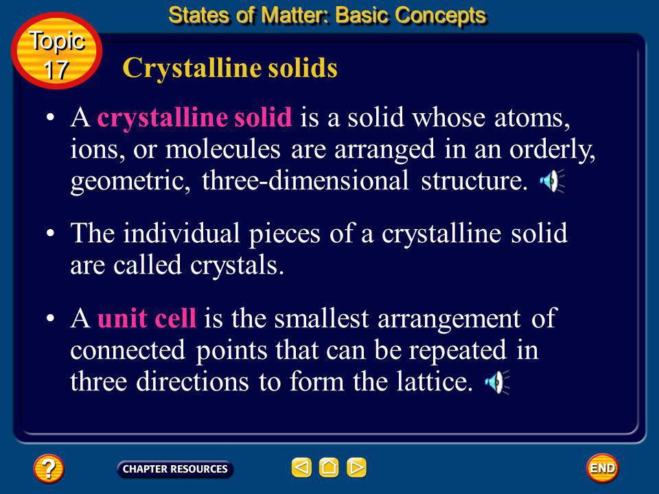 The individual pieces of a crystalline solid are called crystals.