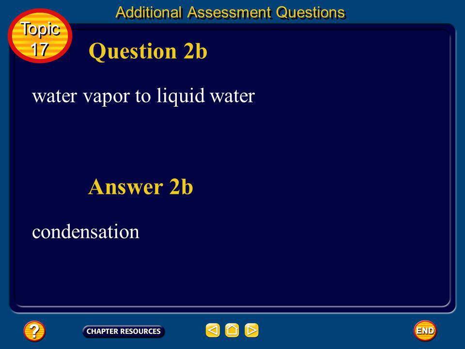 Question 2b Answer 2b water vapor to liquid water condensation Topic