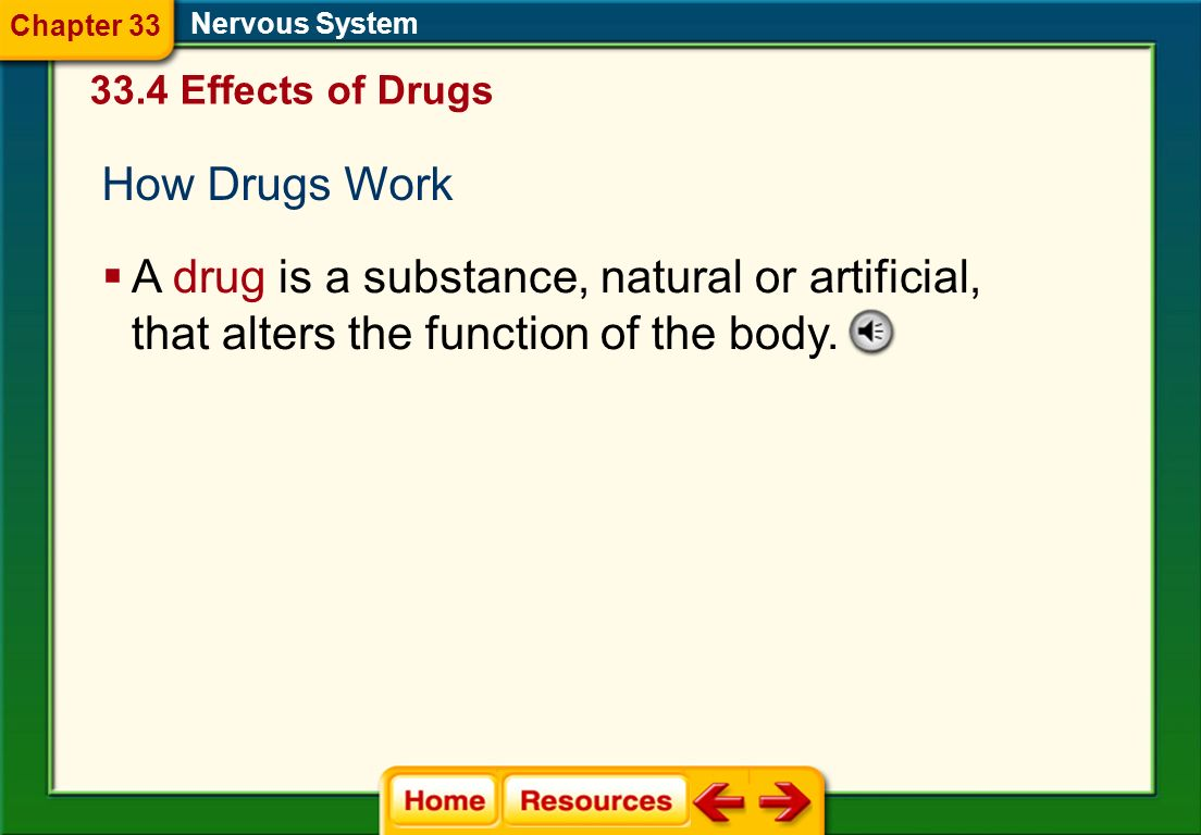 Chapter 33 Nervous System. 33.4 Effects of Drugs. How Drugs Work.