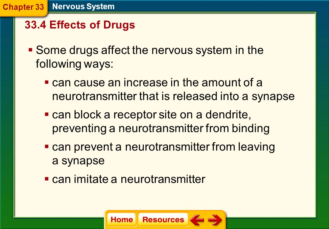 Some drugs affect the nervous system in the following ways: