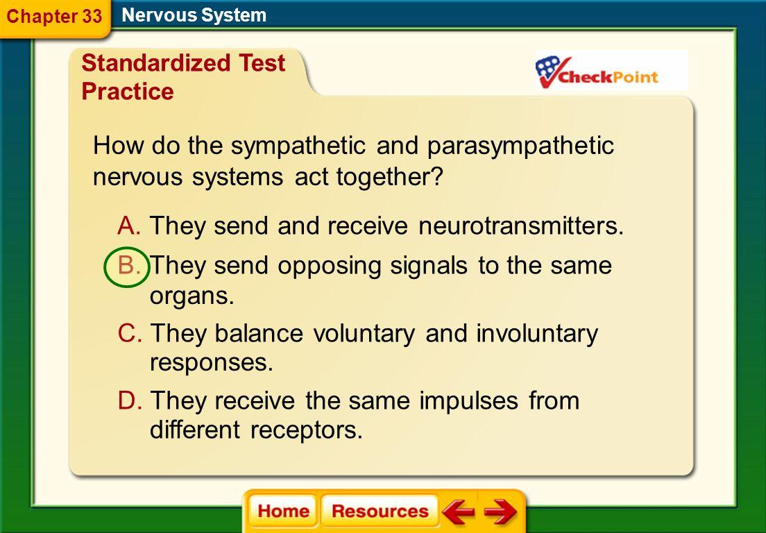 How do the sympathetic and parasympathetic