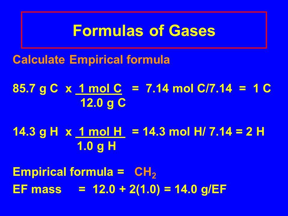 Formulas of Gases Calculate Empirical formula