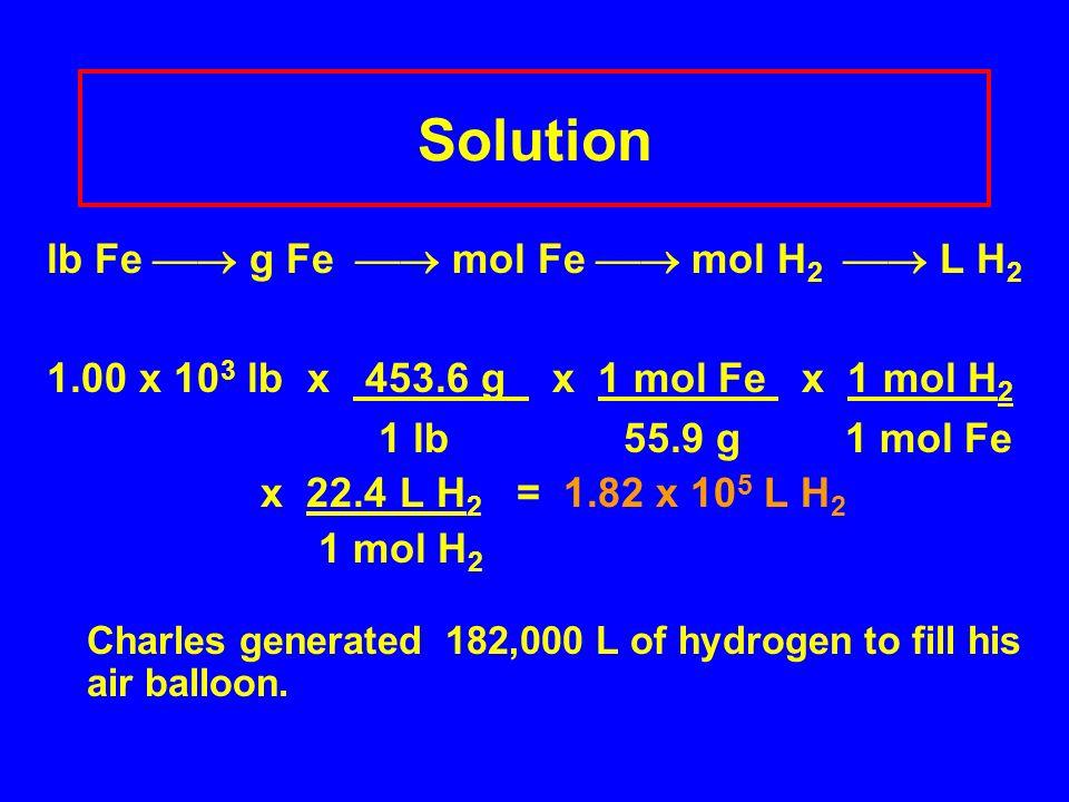 Solution lb Fe  g Fe  mol Fe  mol H2  L H2