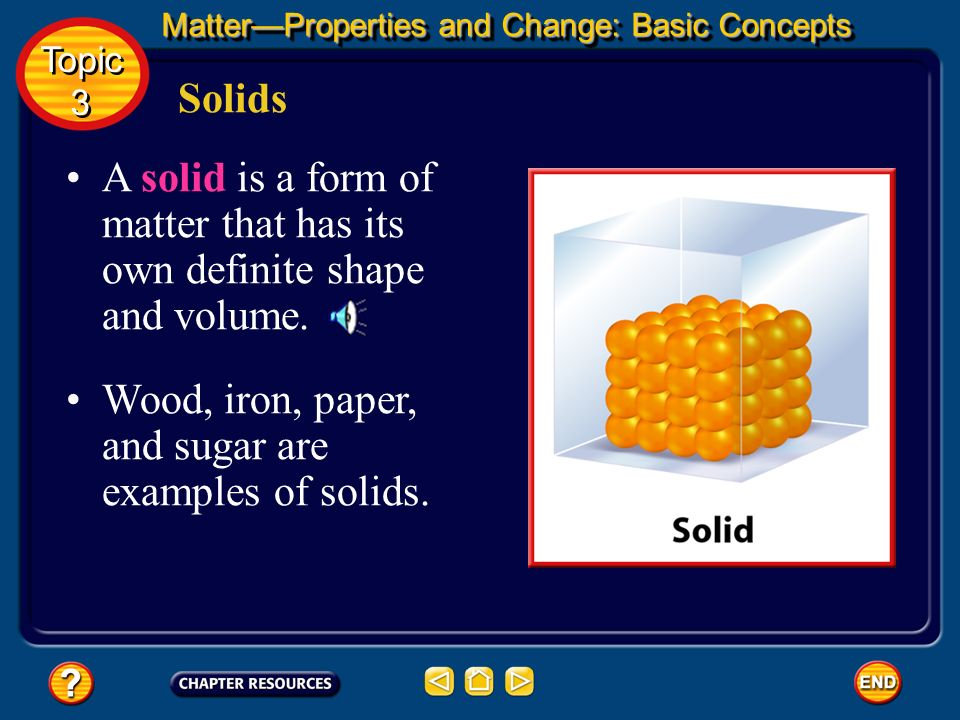 Wood, iron, paper, and sugar are examples of solids.
