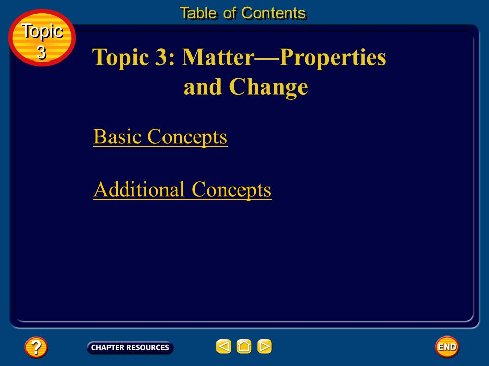 Topic 3: Matter—Properties and Change