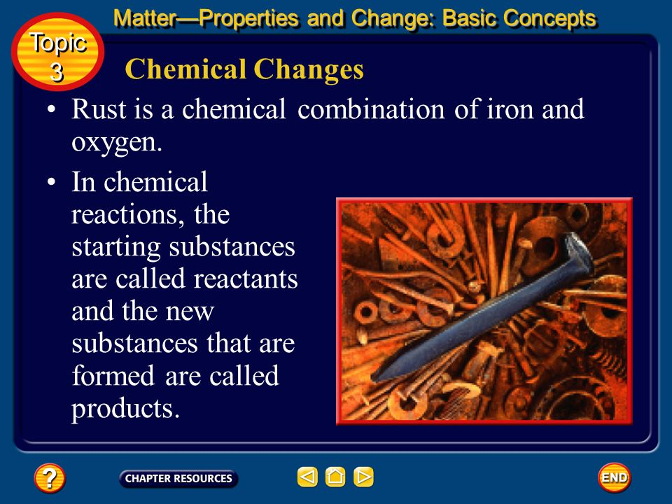 Rust is a chemical combination of iron and oxygen.