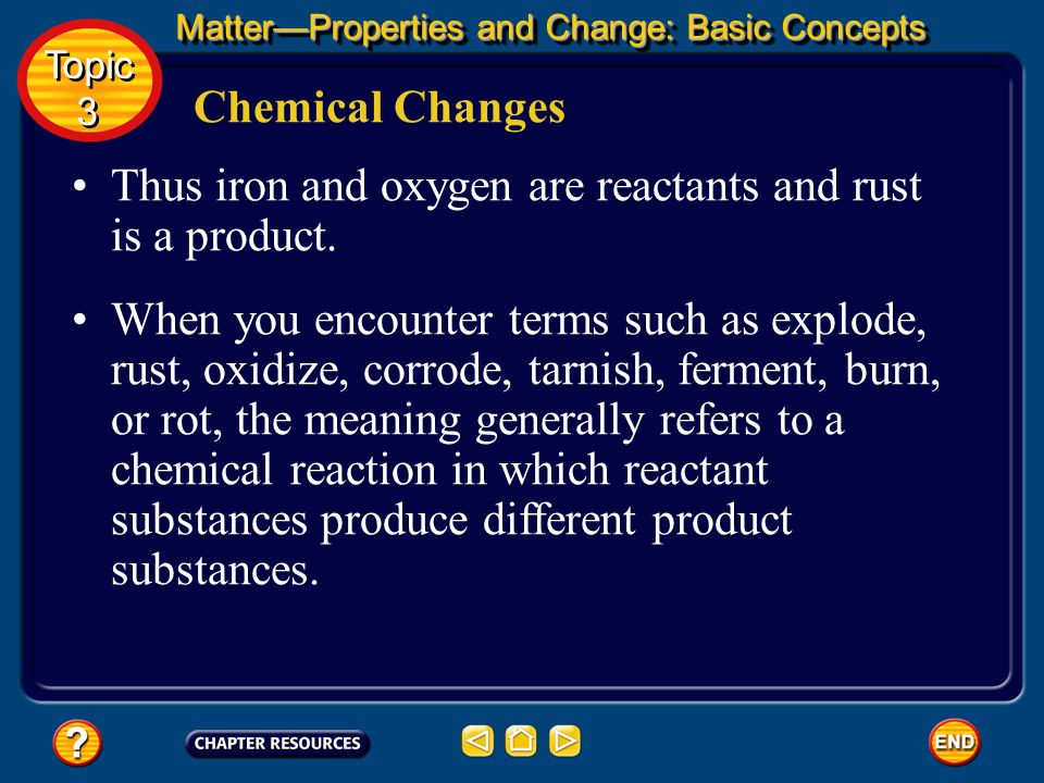 Thus iron and oxygen are reactants and rust is a product.