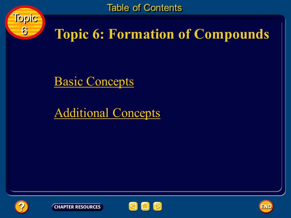 Topic 6: Formation of Compounds