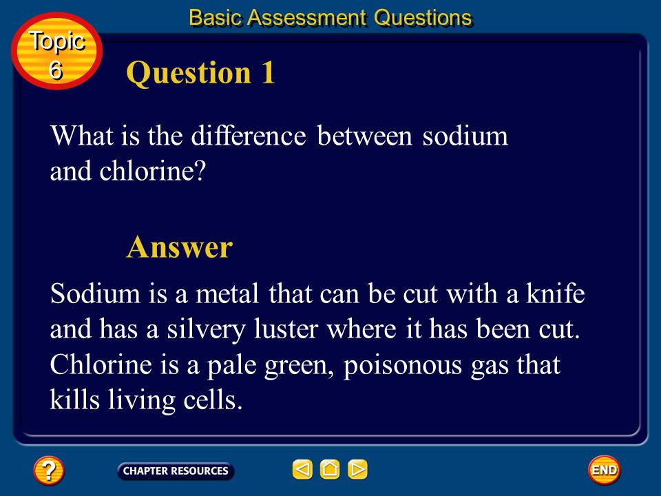 Question 1 Answer What is the difference between sodium and chlorine