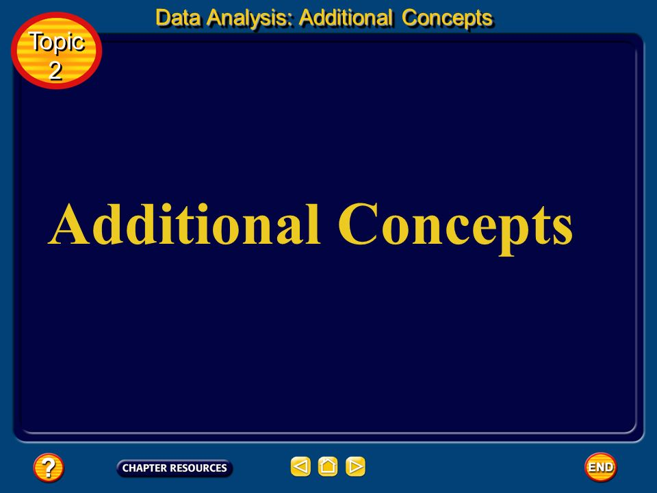 Data Analysis: Additional Concepts
