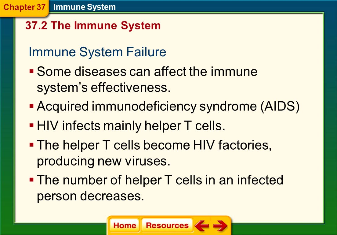 Some diseases can affect the immune system's effectiveness.