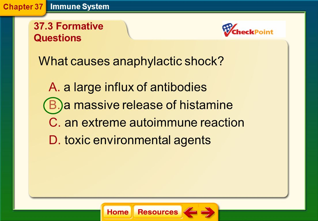 What causes anaphylactic shock