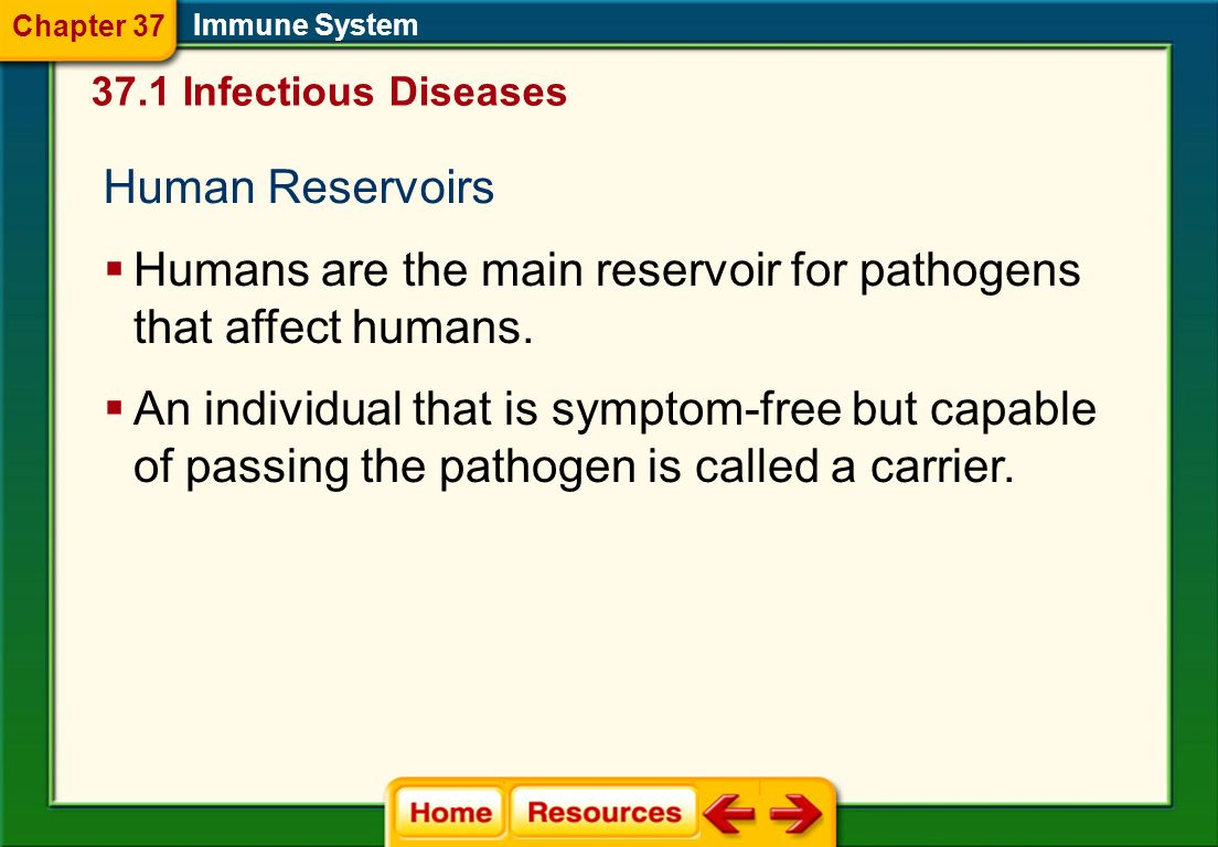 Humans are the main reservoir for pathogens that affect humans.