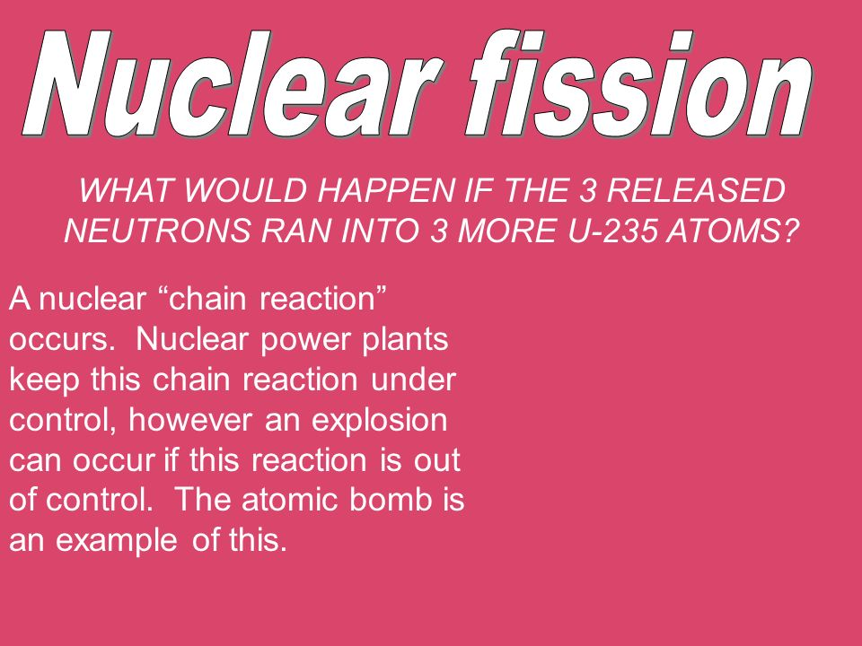 Nuclear fission WHAT WOULD HAPPEN IF THE 3 RELEASED NEUTRONS RAN INTO 3 MORE U-235 ATOMS
