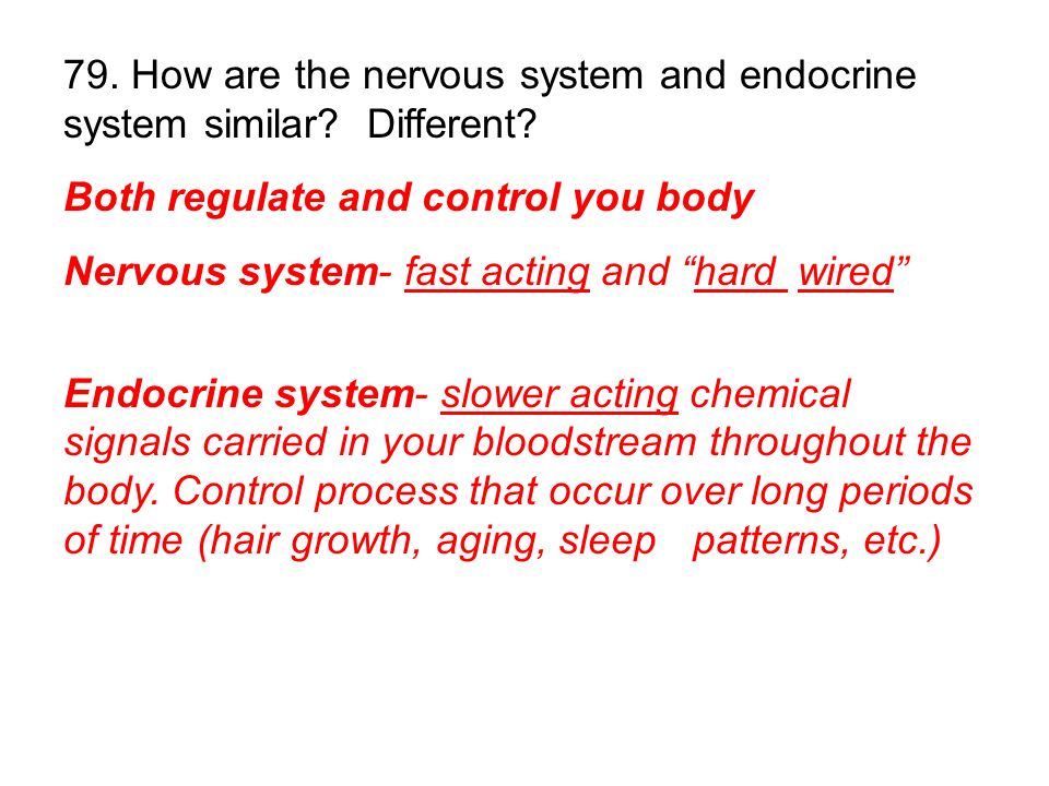 79. How are the nervous system and endocrine system similar Different